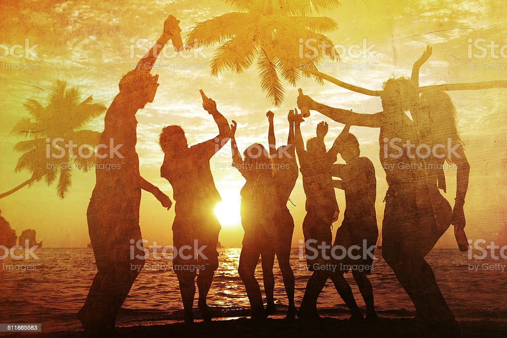 People Enjoying Party by the Beach stock photo