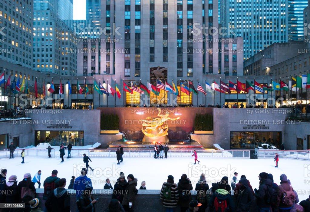 People enjoying Rockefeller Center Ice Skating stock photo