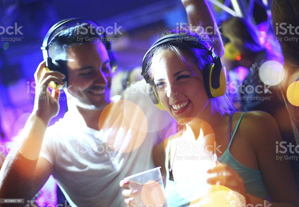 People enjoying silent party. stock photo