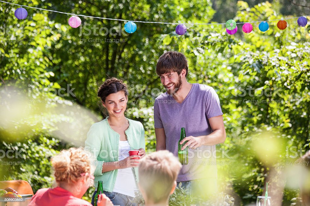 People enjoying summer party stock photo