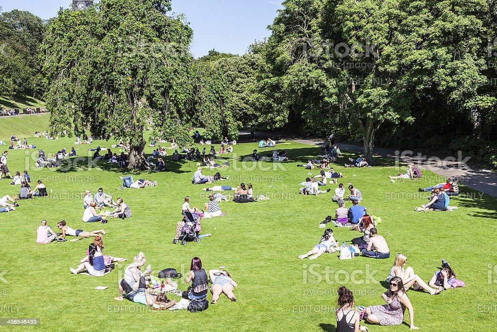 People enjoying summer; Princes St Gardens, Edinburgh, Scotland stock photo