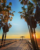 Venice Beach, USA - January 23, 2019: People enjoying sunset in Venice Beach