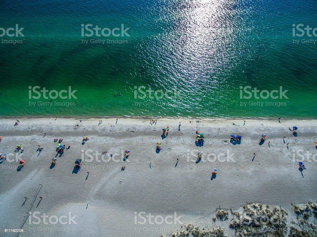 People enjoying the beaches of South Florida stock photo