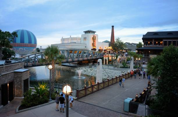 People enjoying the Disney Springs shopping and restaurant area stock photo