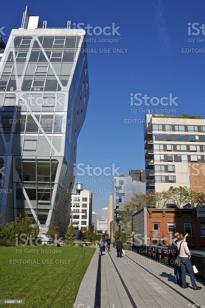 People enjoying the High Line Park, Chelsea, New York City royalty-free stock photo