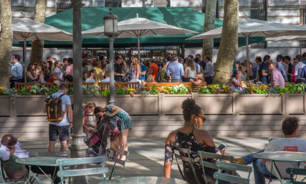 People Enjoying the Outdoor Bar at Bryant Park Cafe New York