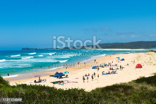 One Tree Point Beach, NSW, Australia-Dec 26, 2018: People enjoying the sunny weather at One Tree Point Beach, Eurobodalla, a wonderful seaside escape and perfect getaway on the South Coast, Australia
