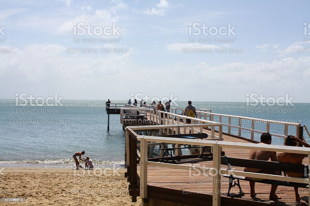 People Enjoying the Torquay Pier, Hervey Bay Queensland stock photo