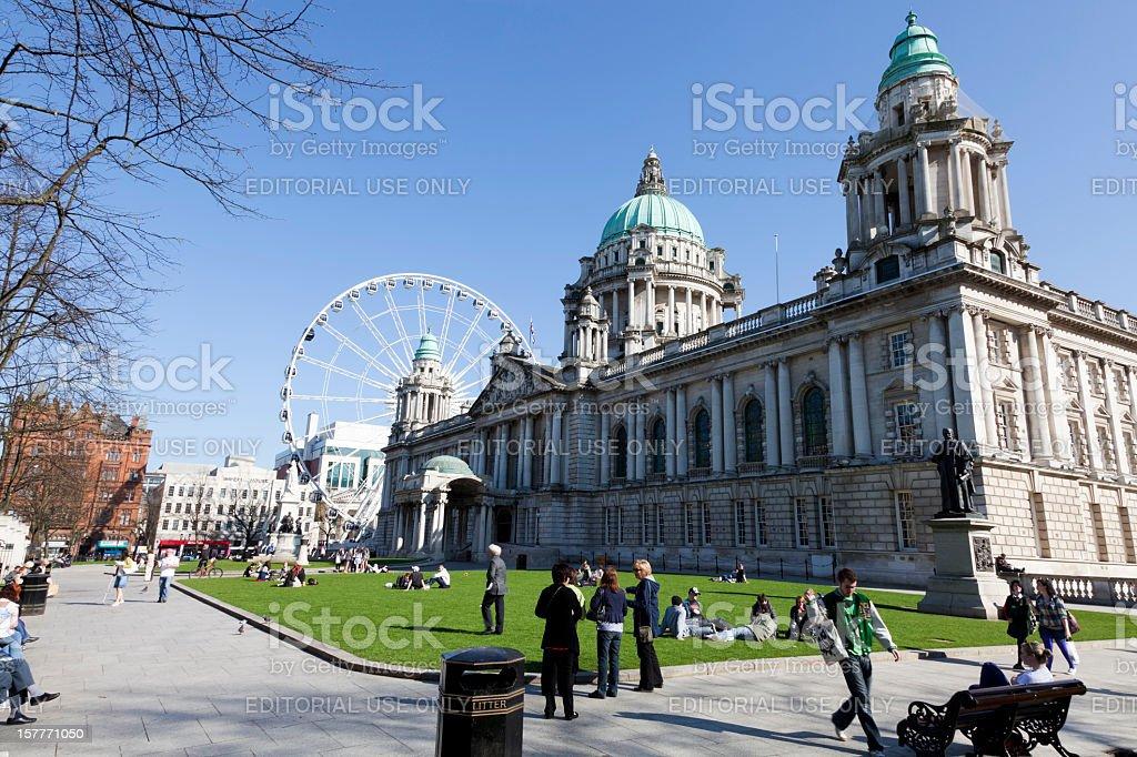 People Enjoying The Weather, Belfast City Hall, Northern Ireland stock photo