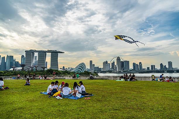 people enjoying their weekend at the rooftop of marina barrage - kinder picknick spiele stock-fotos und bilder