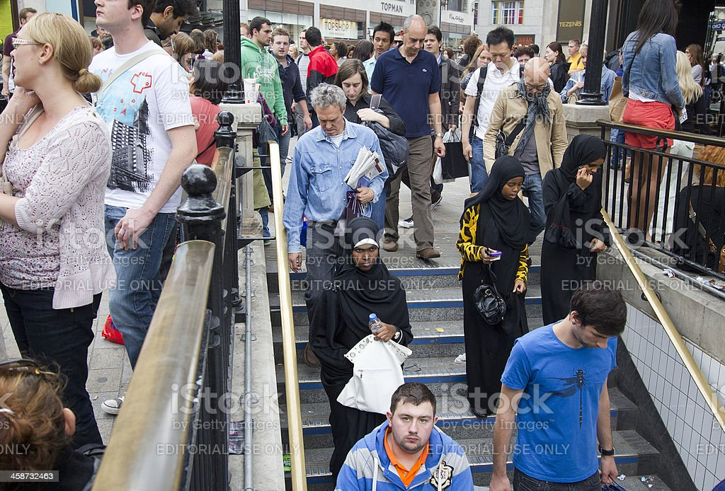 People entering the Subway in London stock photo