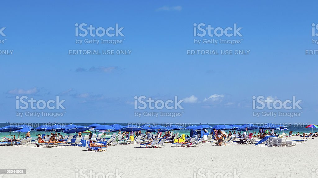 people enyoy the south beach in Miami royalty-free stock photo