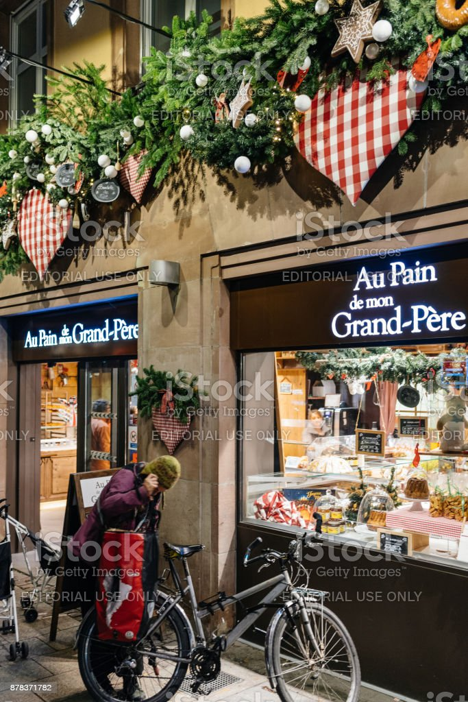 People exits bakery store France stock photo