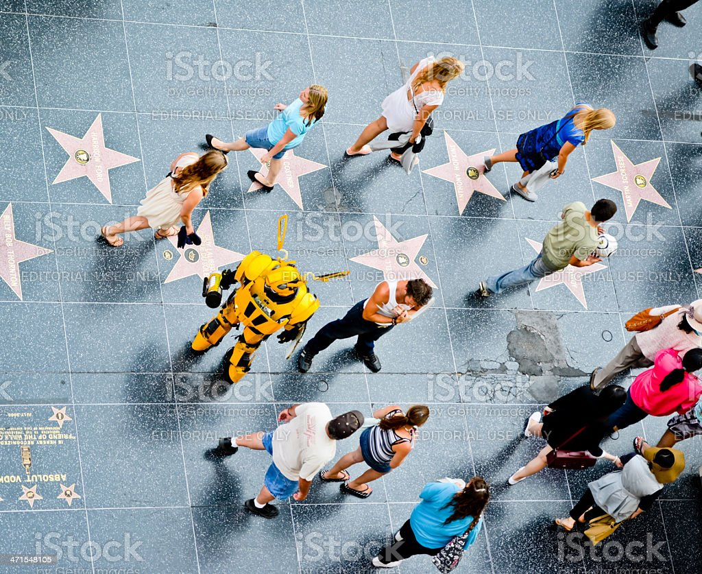 People Exploring Hollywood Walk of Fame stock photo