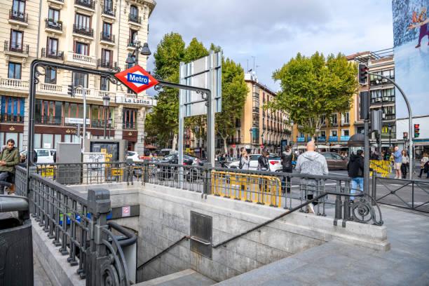 People exploring the popular La Ribera / La Latina neighborhood in central Madrid stock photo