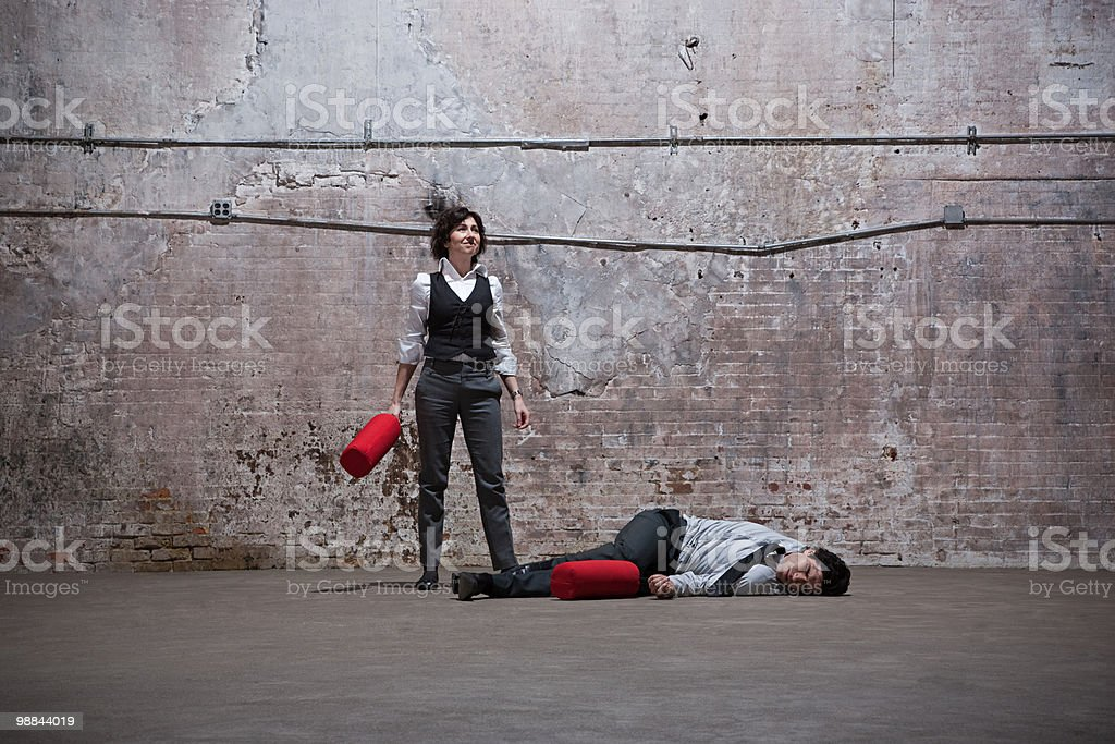 People fighting in warehouse 免版稅 stock photo