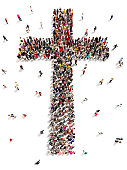 Large group of people walking to and forming the shape of a cross on a white background.