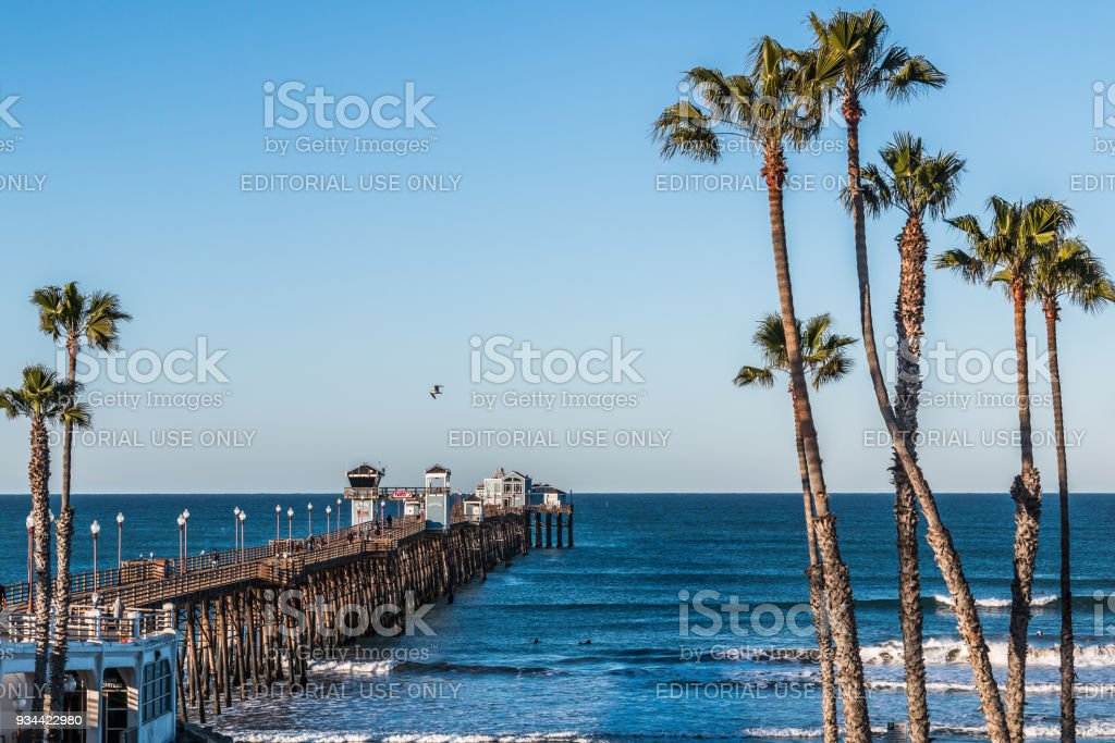 People Fish and Enjoy View From Oceanside Fishing Pier stock photo