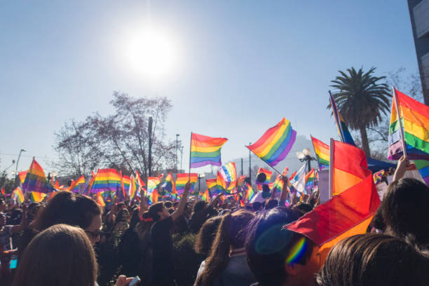 People fluttering the flag LGTB on gay pride day, Chile Santiago, Chile - July 01, 2017 gay pride parade stock pictures, royalty-free photos & images