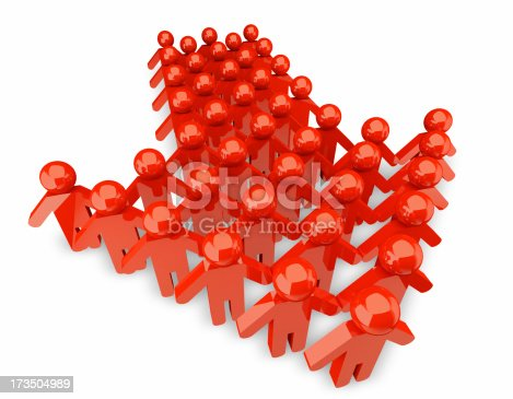 istock People form up in arrow - isolated 173504989