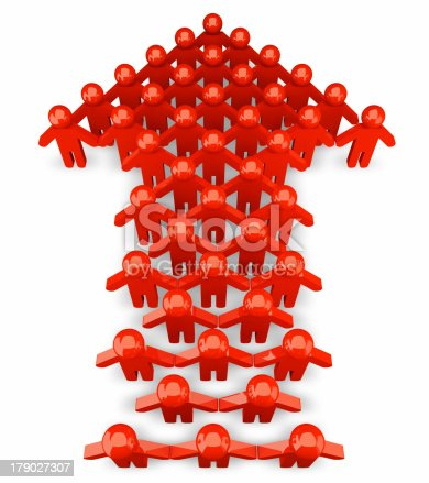 istock People form up in arrow - isolated 179027307