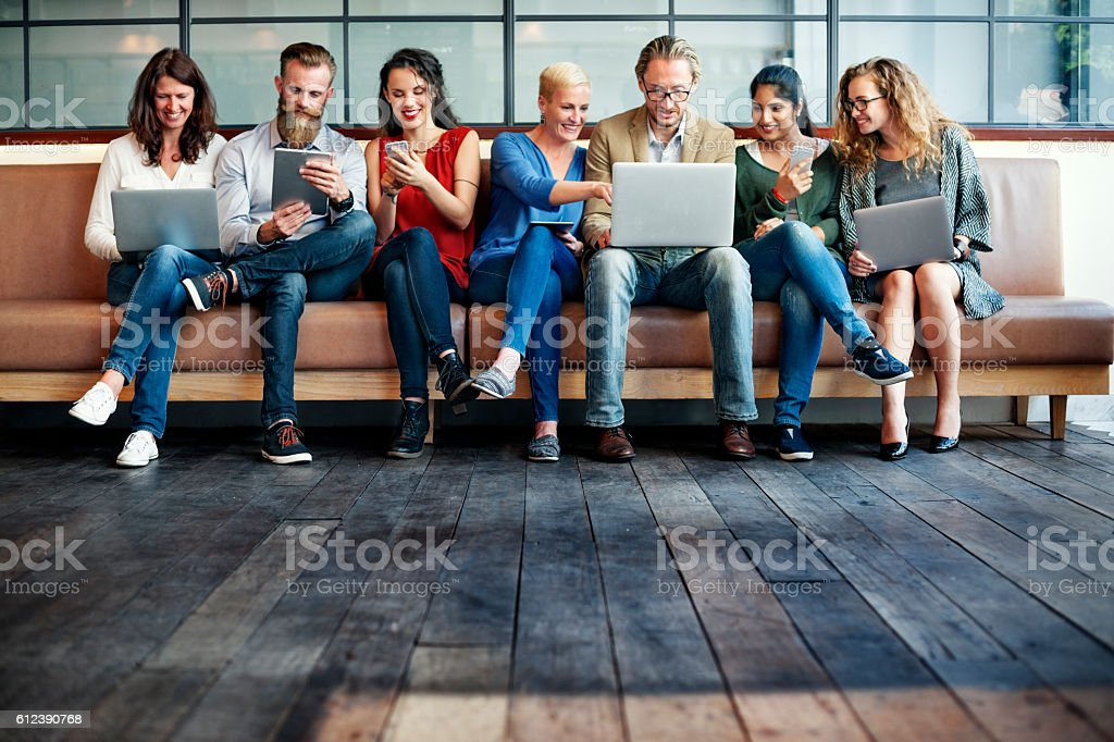 People Friendship Brainstorming Devices Techcnology Concept stock photo