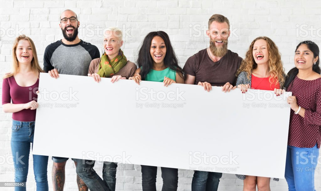 People Friendship Togetherness Copy Space Banner Concept stock photo
