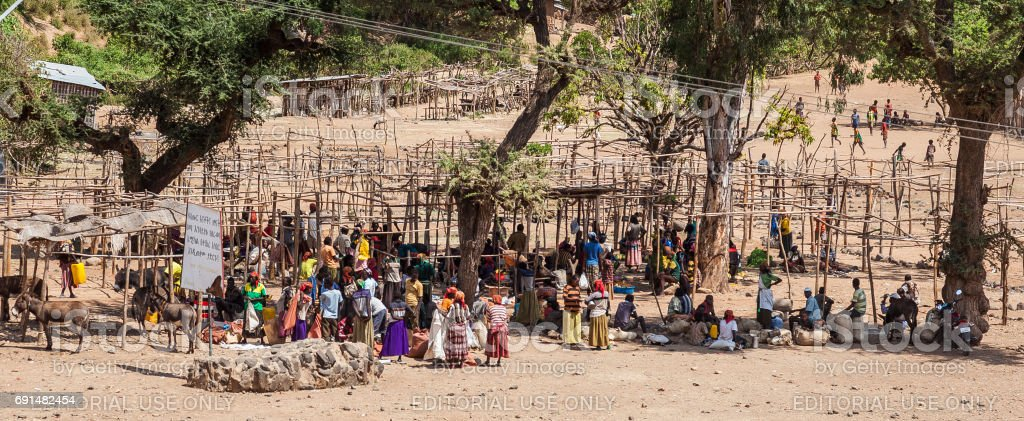 People from Konso area tribes at local village market. Omo Valley. Ethiopia stock photo