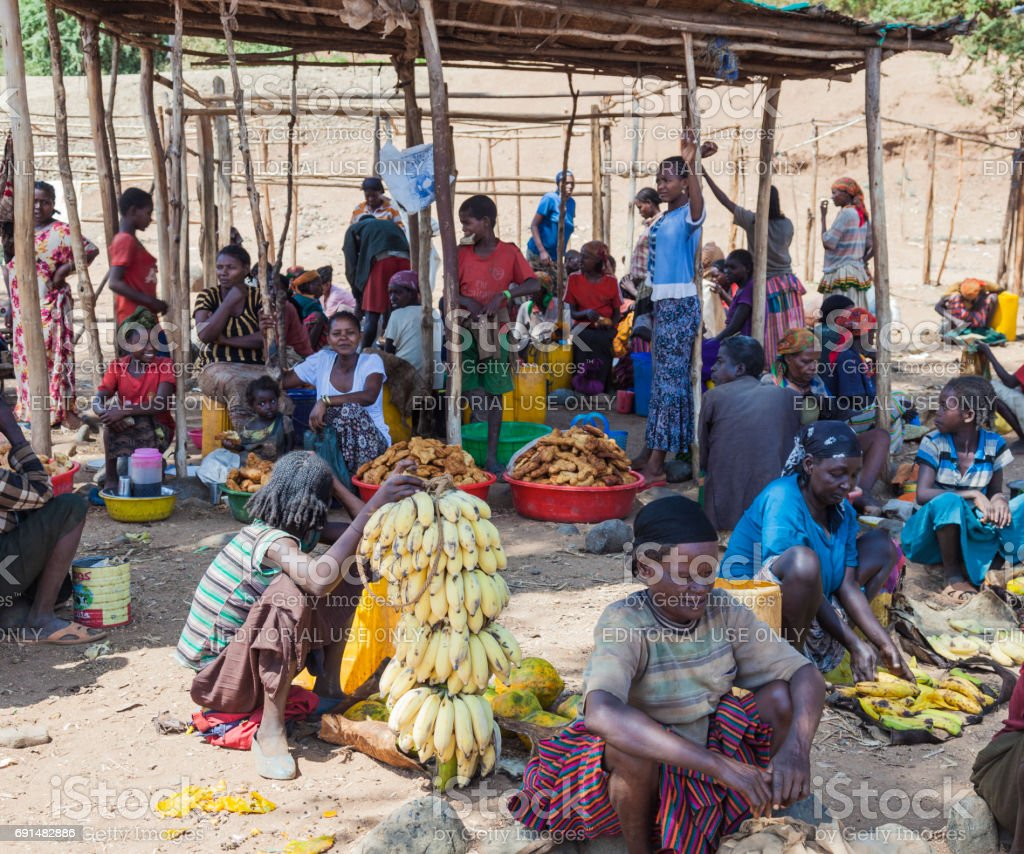 People from Konso tribal area at local village market. Omo Valley. Ethiopia stock photo
