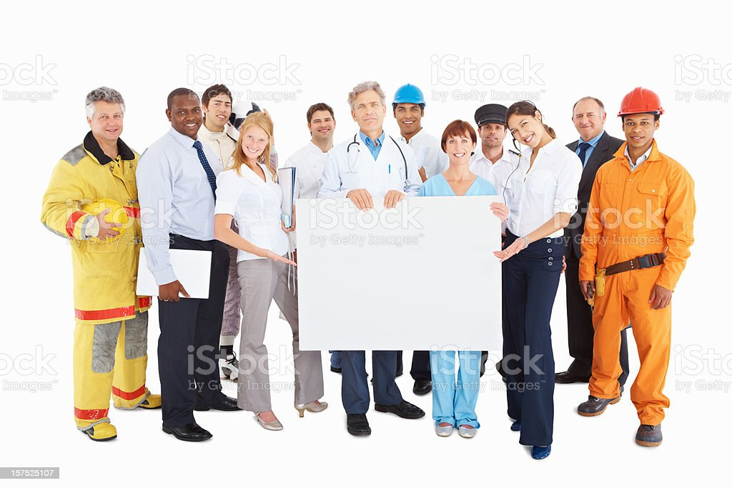 People from respective professions with a blank board royalty-free stock photo