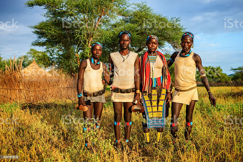 People from Samai tribe, Ethiopia, Africa stock photo