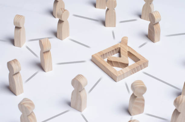 People gathered around the checkboxes connected by lines. People make a group choice. Democratic elections, collective decision and choice, referendum. Concept forum of people. Check mark. stock photo