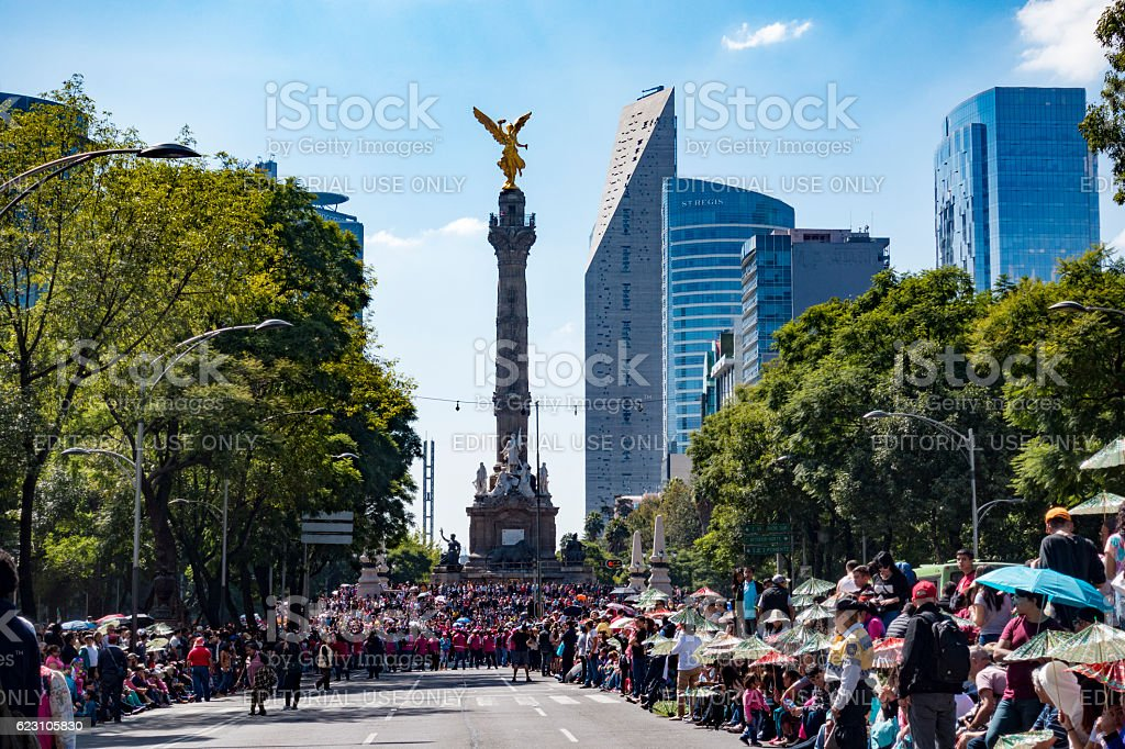 People Gathered at Angel of Independence Monument Mexico City stock photo