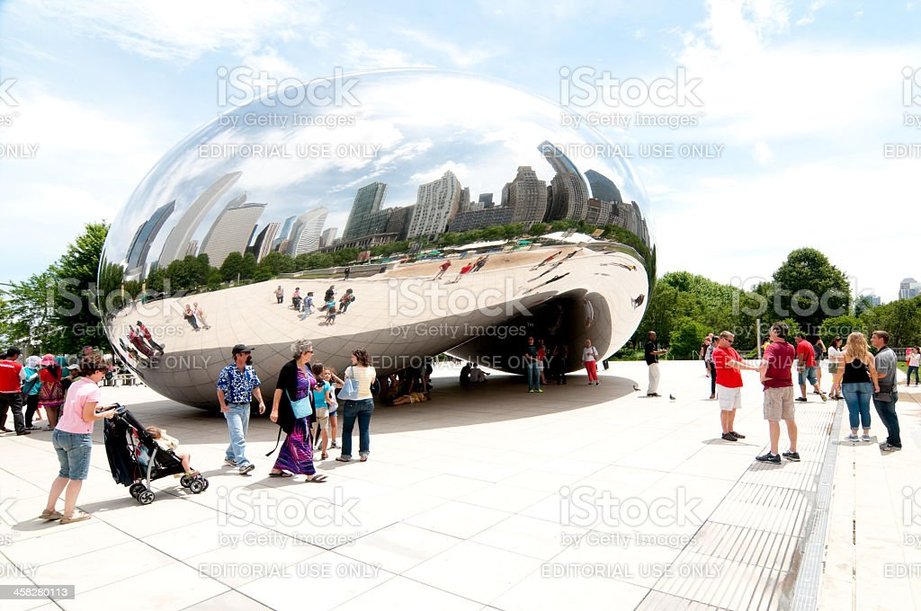 People gathered at Millennium Park royalty-free stock photo