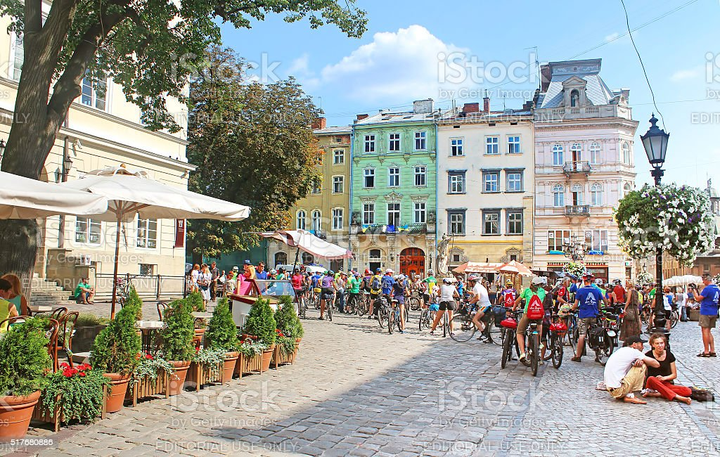 People gathered on the Market (Rynok) square, Lviv, Ukraine stock photo