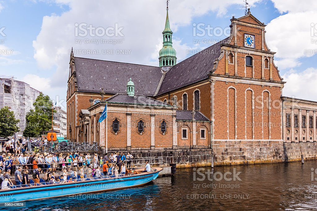 People get off canal boat royalty-free stock photo