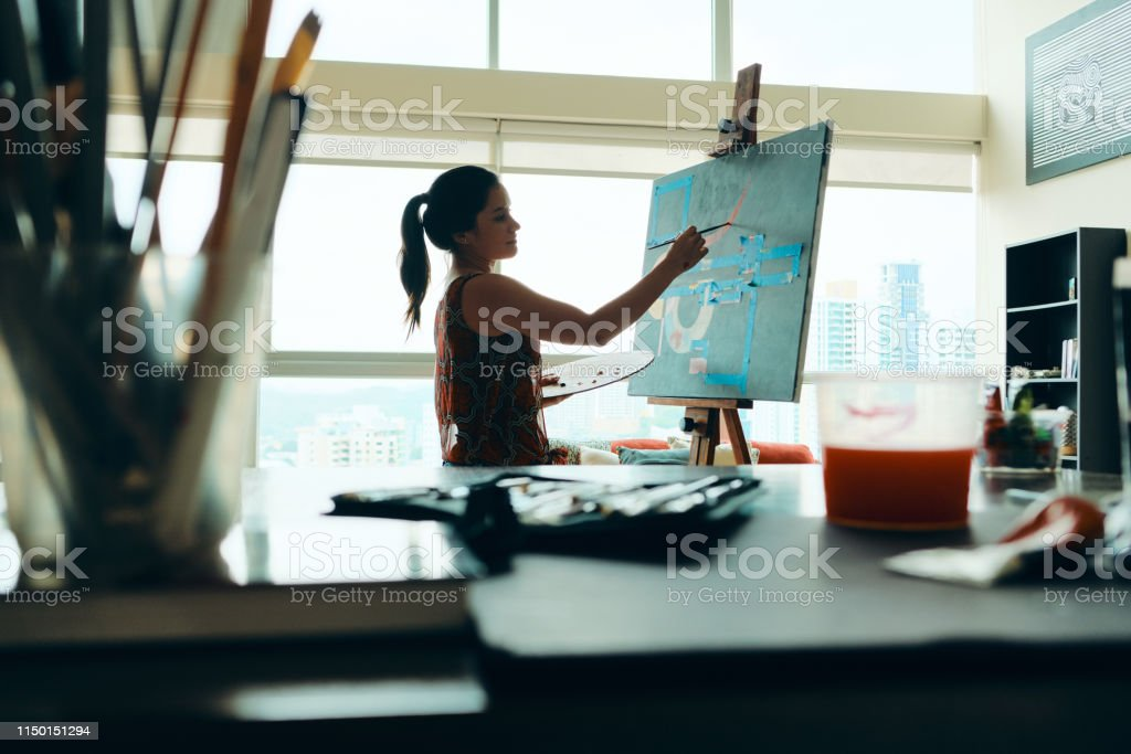 People Girl Woman Painting In Lab For Arts Hobby Work - Royalty-free Active Lifestyle Stock Photo