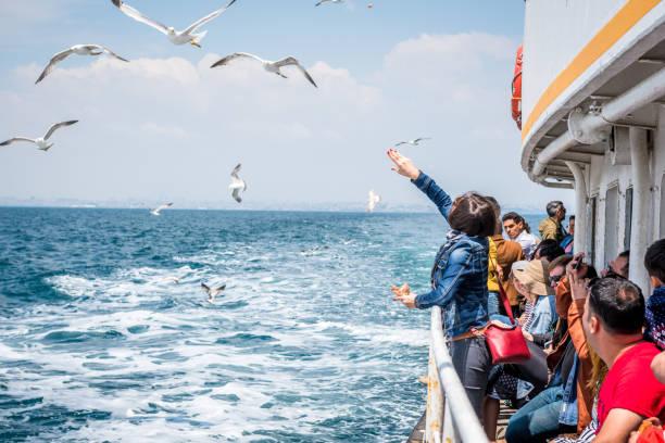 Cтоковое фото People go by ferry through Marmara sea to Princes islands