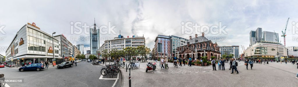 people go shopping in the famous pedestrian zone Zeil in Frankfurt royalty-free stock photo