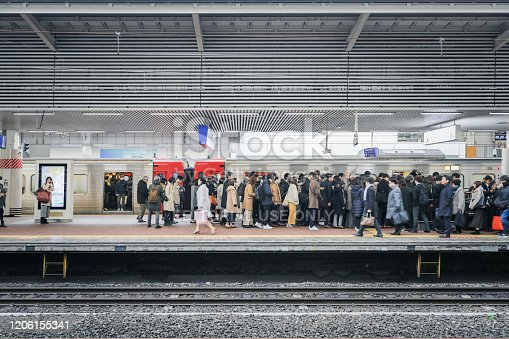 People go to work in Morning Business hours in Hakata JR station, Kyushu, Japan