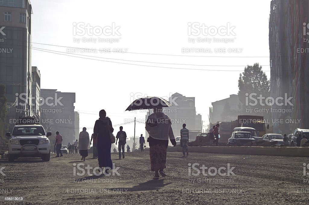 People going by walking on the street royalty-free stock photo