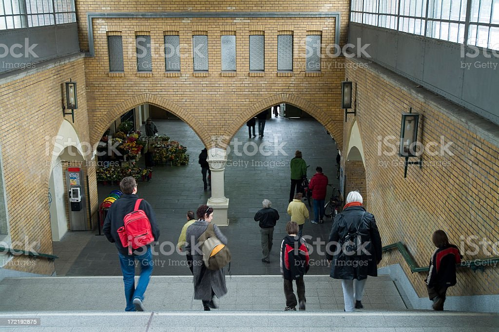 People Going downstairs to the trains royalty-free stock photo
