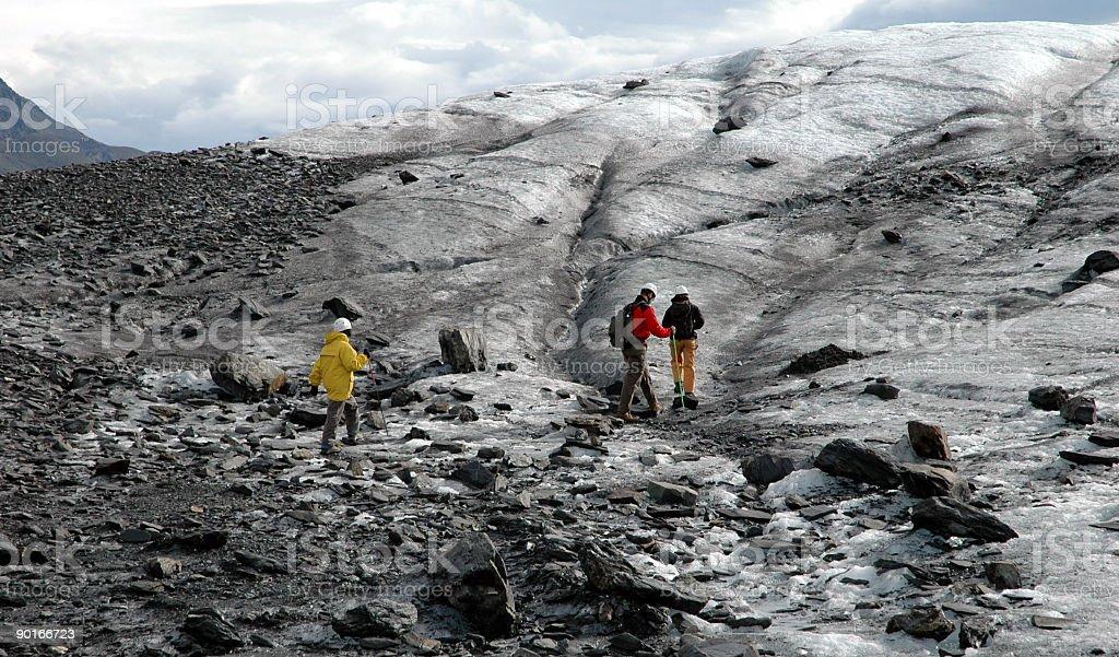 People going for a walk on Matanuska Glacier,Alaska. stock photo