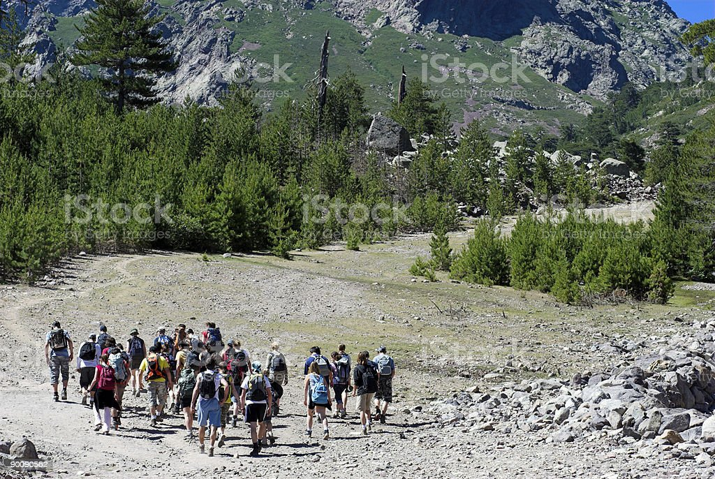 People Going Up the Mountain royalty-free stock photo