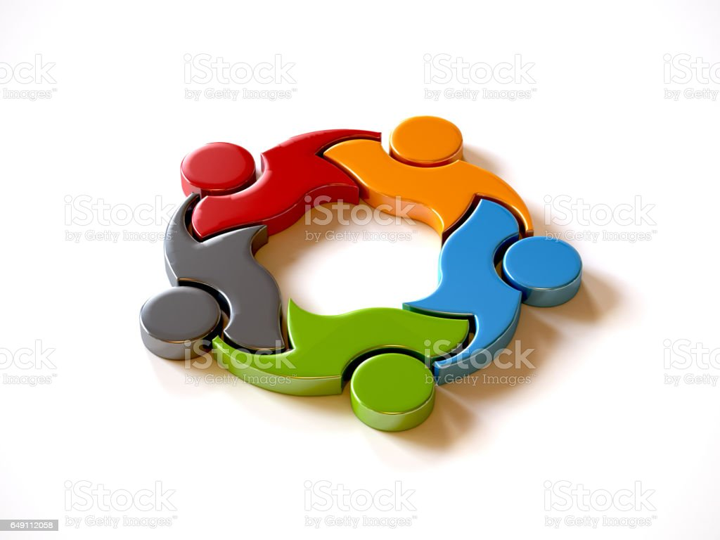 People Group Integrated Logo. 3D Rendering illustration stock photo