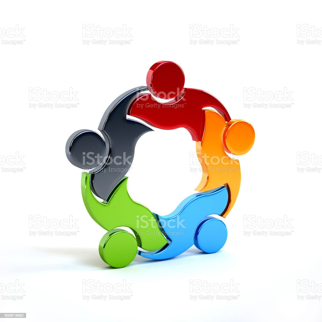 People Group Teamwork Logo. 3D Rendering illustration stock photo