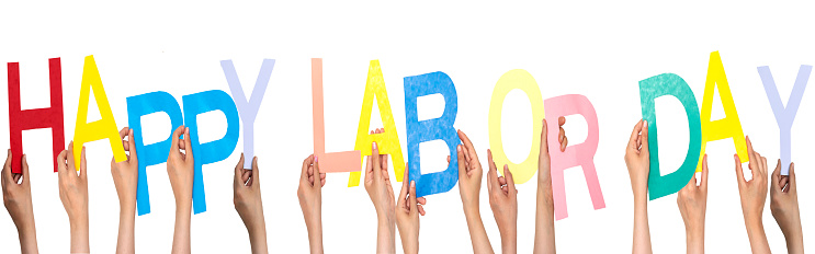 people hand forming happy labor day concept