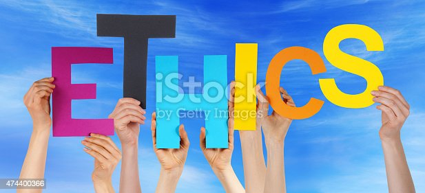 Many Caucasian People And Hands Holding Colorful Letters Or Characters Building The English Word Ethics On Blue Sky