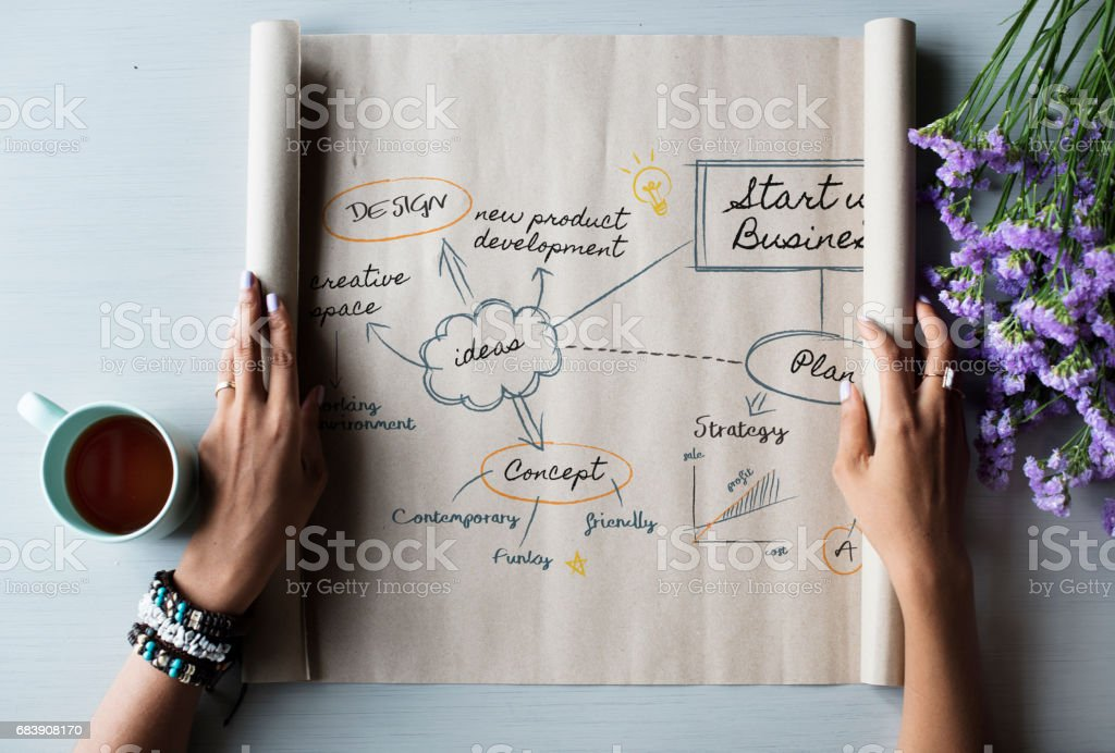 People Hands Showing Startup Business Plan Paper Roll stock photo