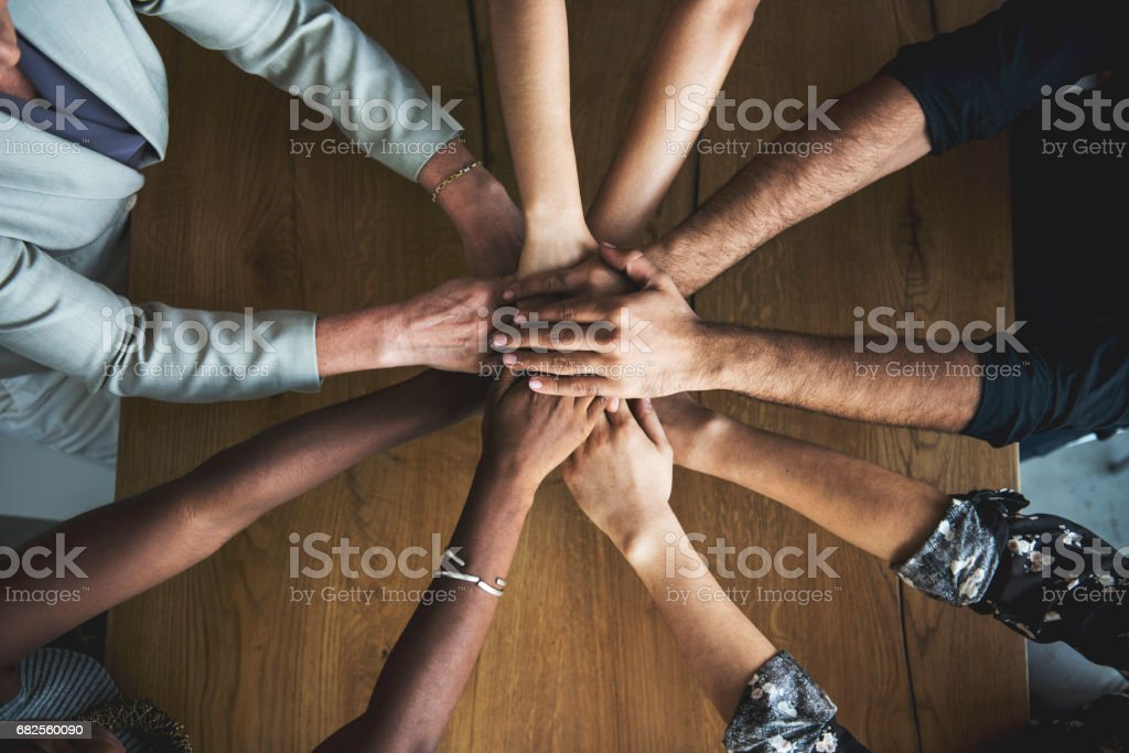 People Hands Together Partnership Teamwork stock photo
